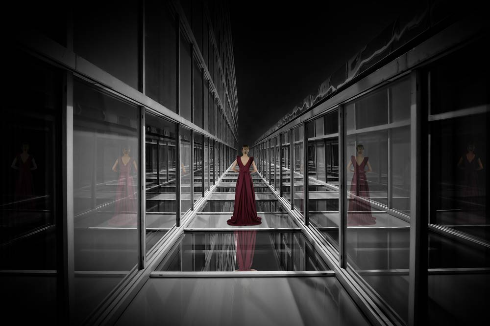image of a woman in glass background